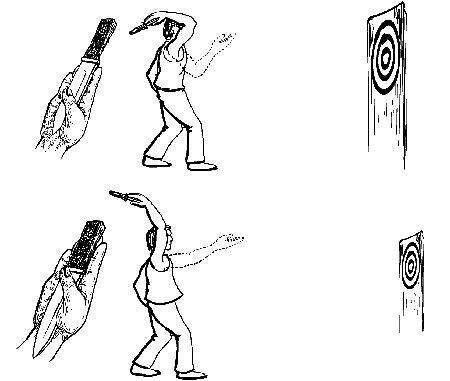 obrazek: zmiana odległości rzutu nożem po polsku